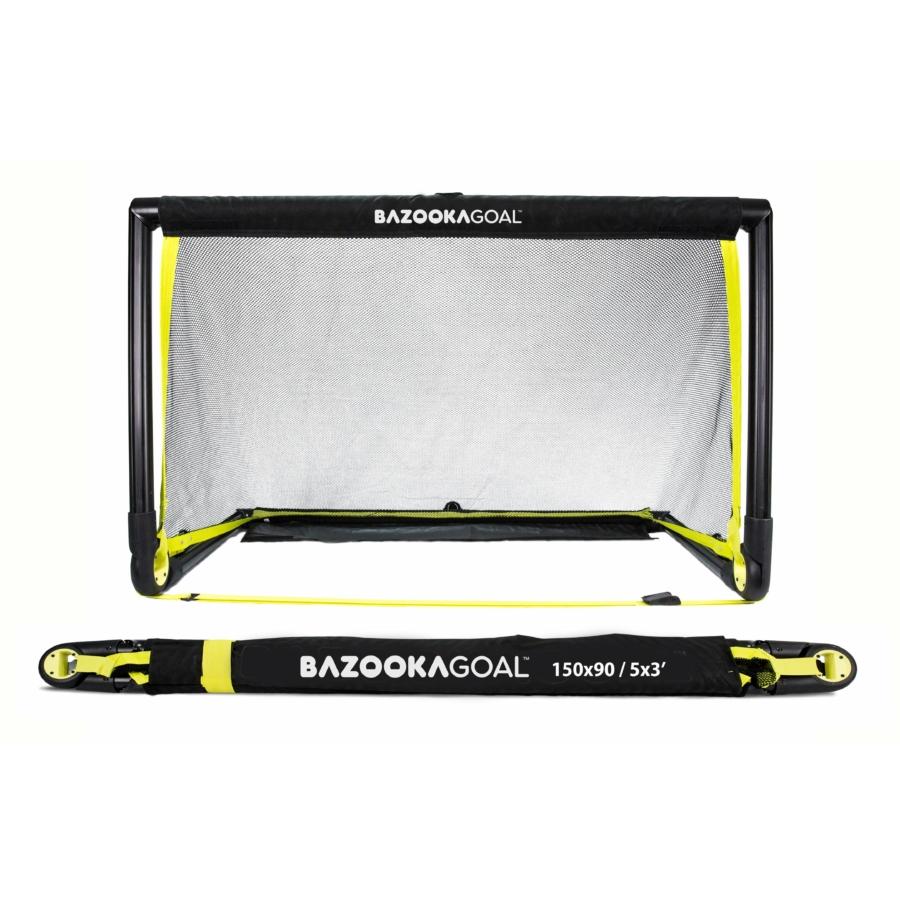 Kép 1/8 - BazookaGoal 150x90 összecsukható kapu fekete hálóval
