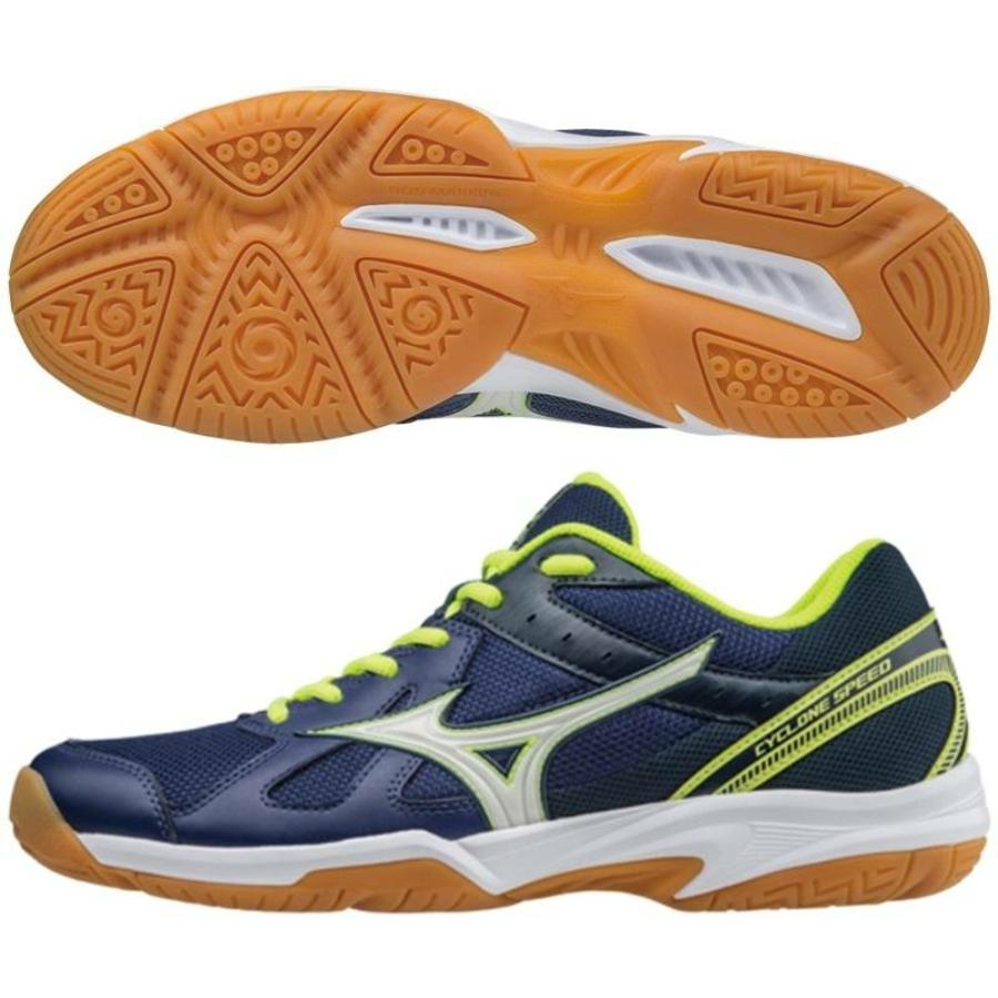 Kép 2/2 - Mizuno Cyclone Speed Férfi Kézilabda cipő - kék-sárga-fehér 1